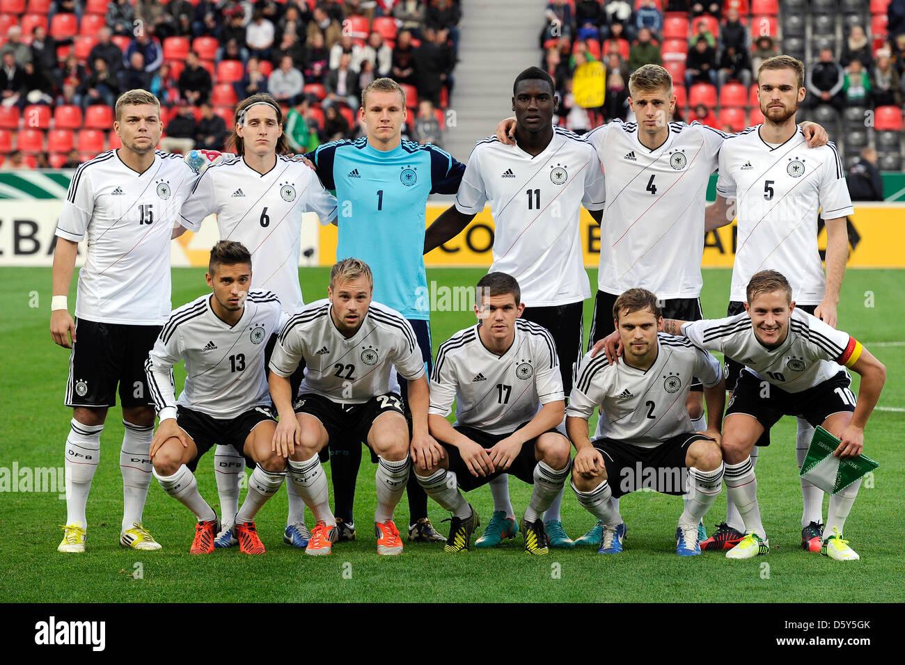 Germany's Alexander Esswein (TOPL-R), Sebastian Rudy, Bernd Leno, Peniel Mlapa, Lasse Sobiech, Sebastian - Stock Image