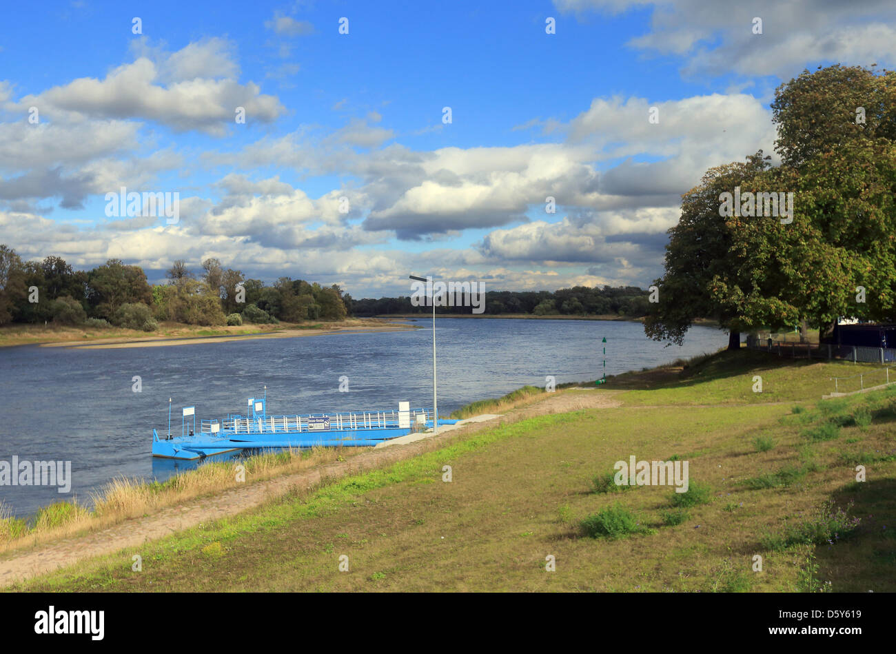 The Elbe flows through a pastureland and past the Kornhaus pier in Dessau-Rosslau,Germany, 27September - Stock Image