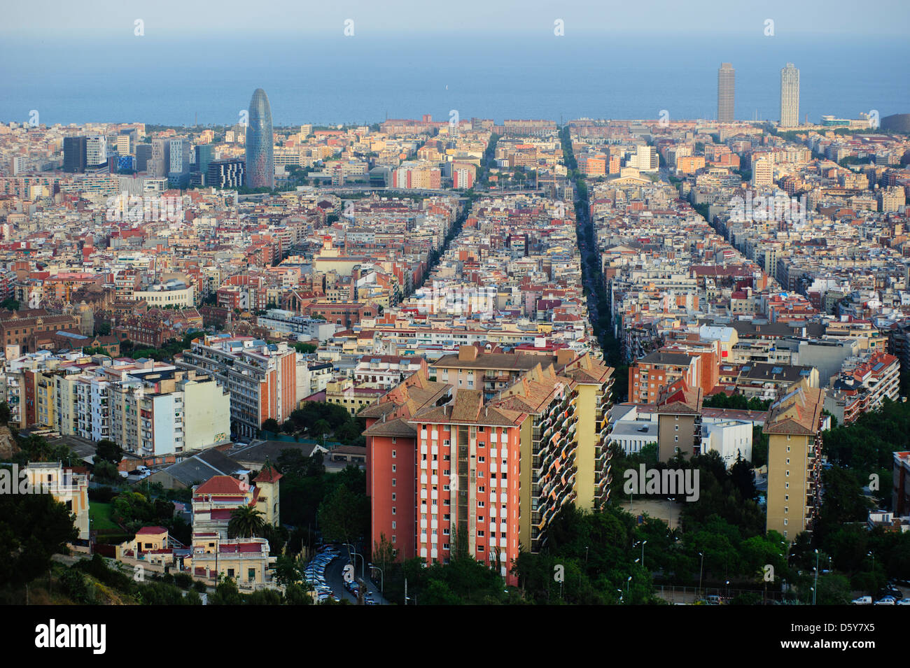 A general view of Barcelona's skyline, Spain. - Stock Image