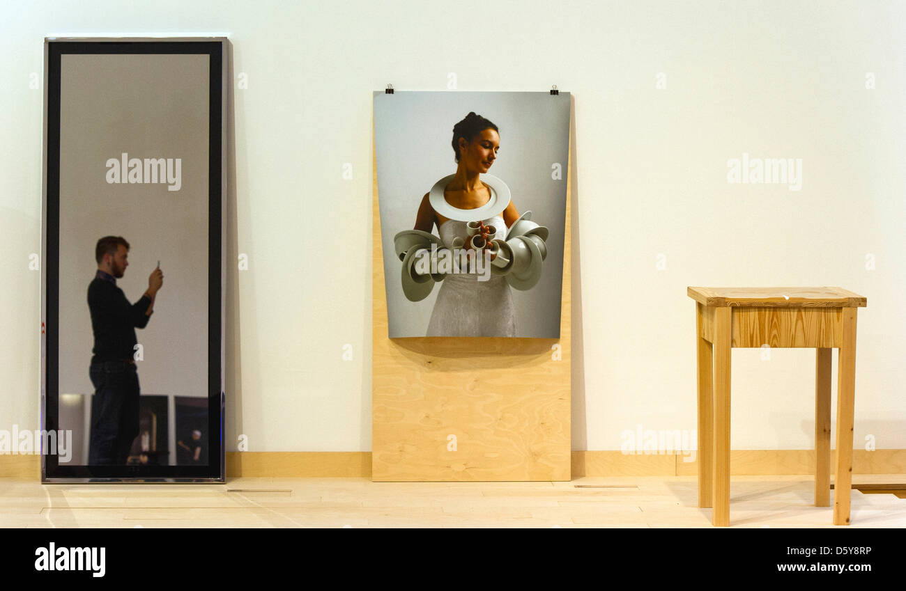 """The work """"Magikal Miroir XL"""" by Alnoor Design (L-R), """"La Dot (détail)"""" by Marie Pendariés and """"Sentimental Billot, Curiosa #I"""" by Arnold Degiovanni are pictured in the exhibition """"C'est pas mon genre - About Women (Design from France)"""" at the Museum for Applied Arts in Frankfurt Main,Germany, 18 October 2012. The exhibition runs from 20 October until 02 December 2012. Photo: NICOL Stock Photo"""