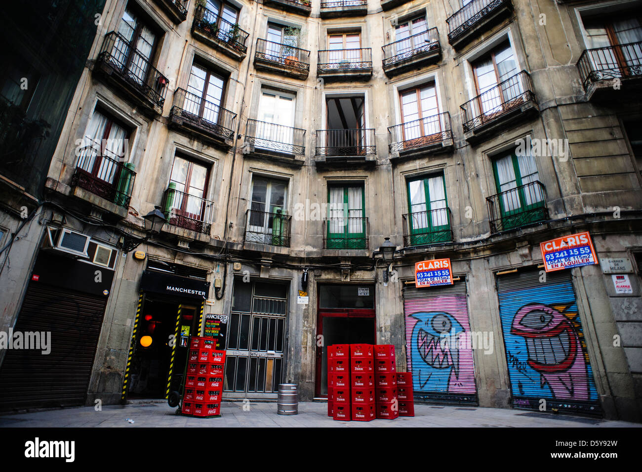 Traditional street with balconies in the gothic area of Barcelona. - Stock Image