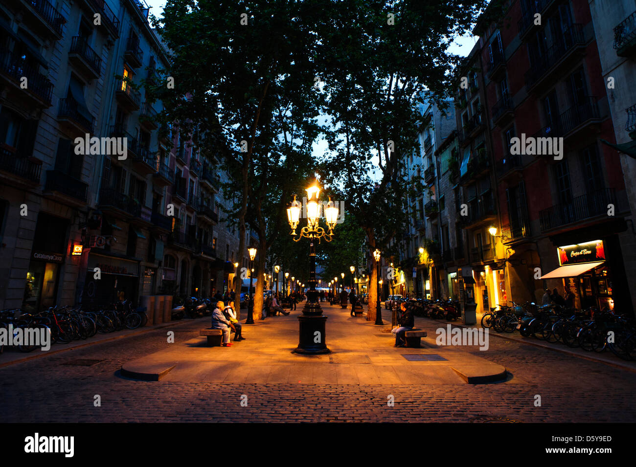 View of the Area of 'el born' at nighttime, Barcelona, Spain. - Stock Image