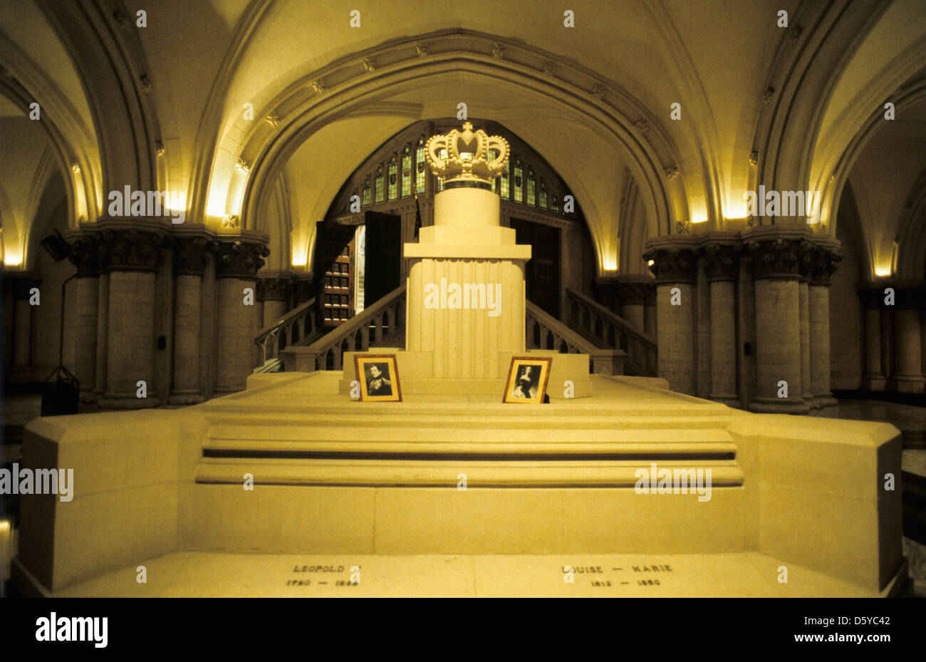 Royal tomb of King Leopold 1st and Queen Louise-Marie in the Royal crypt of Eglise Notre Dame de Laeken in Brussels, - Stock Image
