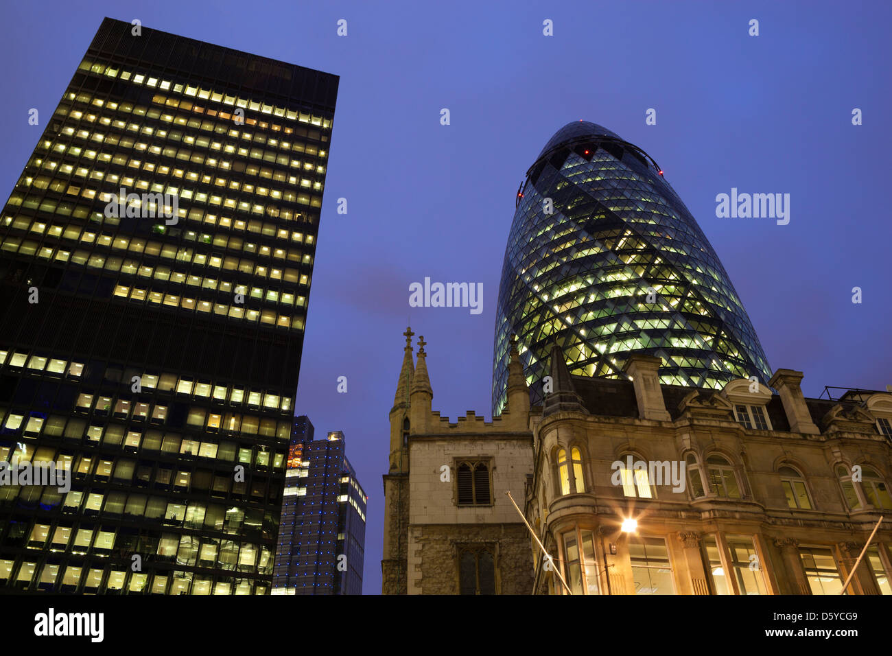 30 St Mary Axe (The Gherkin) viewed from Leadenhall Street - Stock Image
