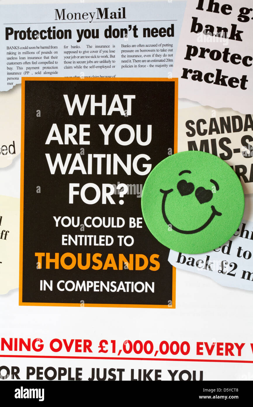 smiling at the thought of compensation - what are you waiting for you could be entitled to thousands in compensation - Stock Image