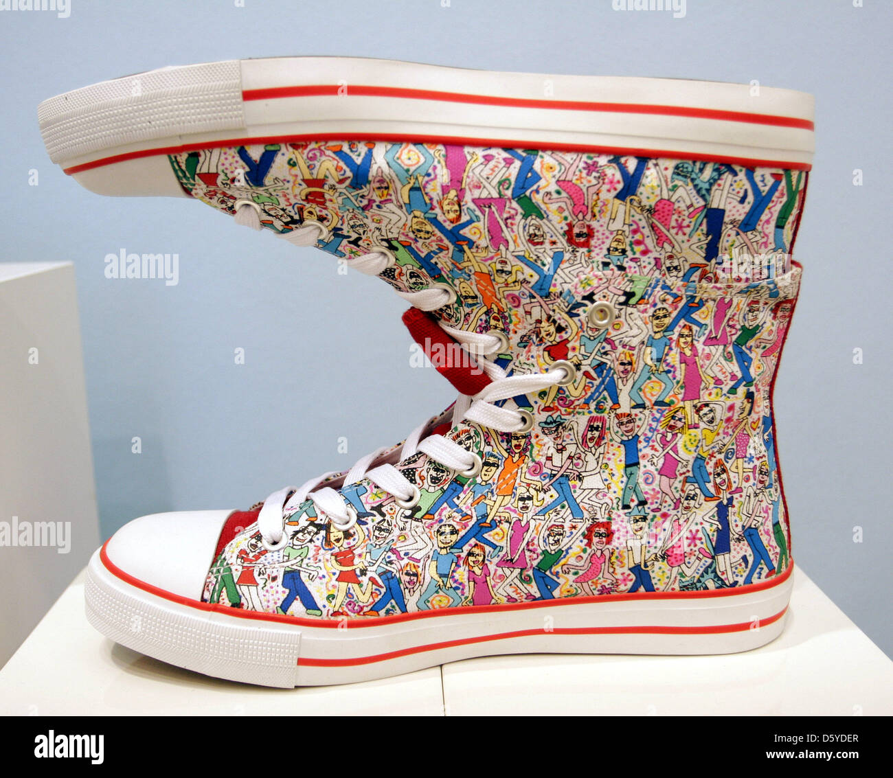 shoes designed by us american james rizzi for sports equipment manufacturer fila are on display at