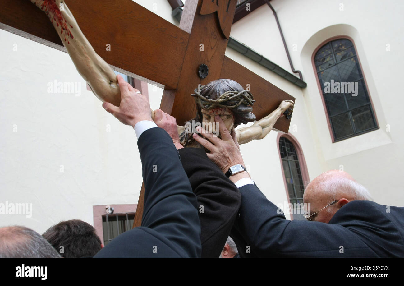 People attend the Good Friday Procession in Lohr am Main, Germany, 06 April 2012. Numerous Christians gathered to - Stock Image