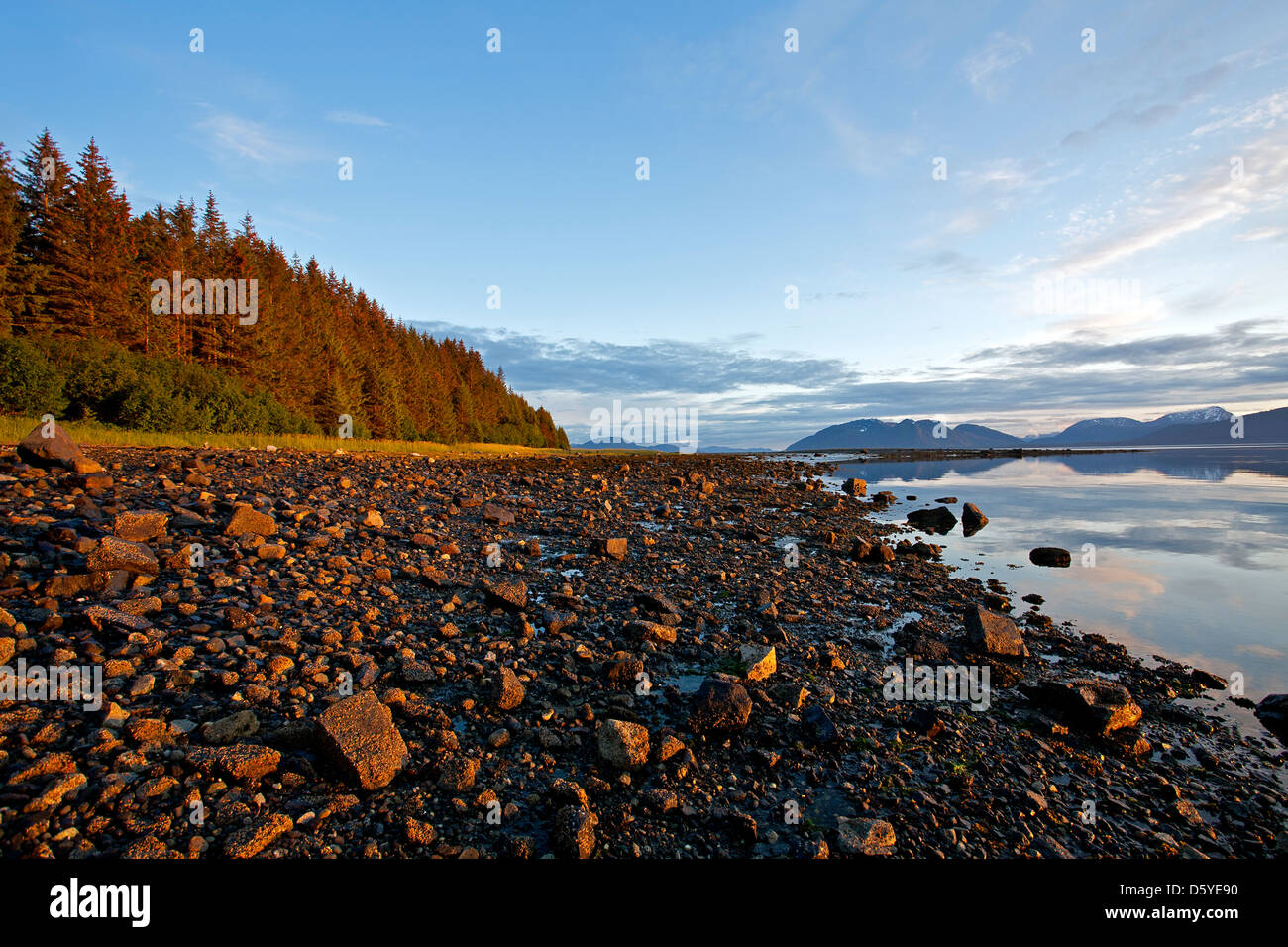 Sunset at Bartlett Cove. Glacier Bay National Park. Alaska. USA - Stock Image
