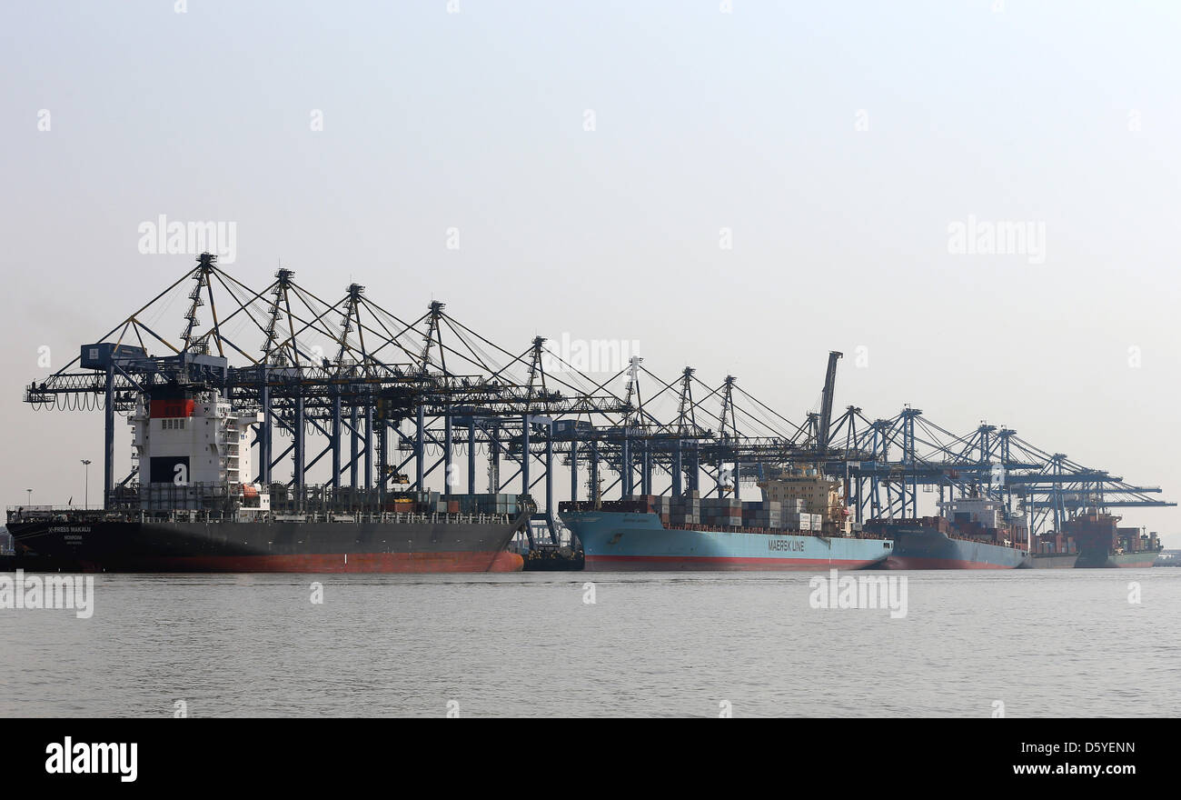 Container ships are moored at the Nhava Sheva International