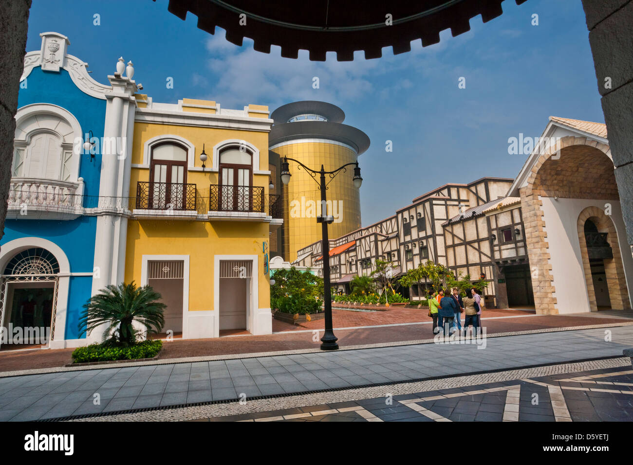 China, Macau, Legend Wharf, building replicas of Trinidad and Havana are flanked by buildings in Venetian and roman - Stock Image