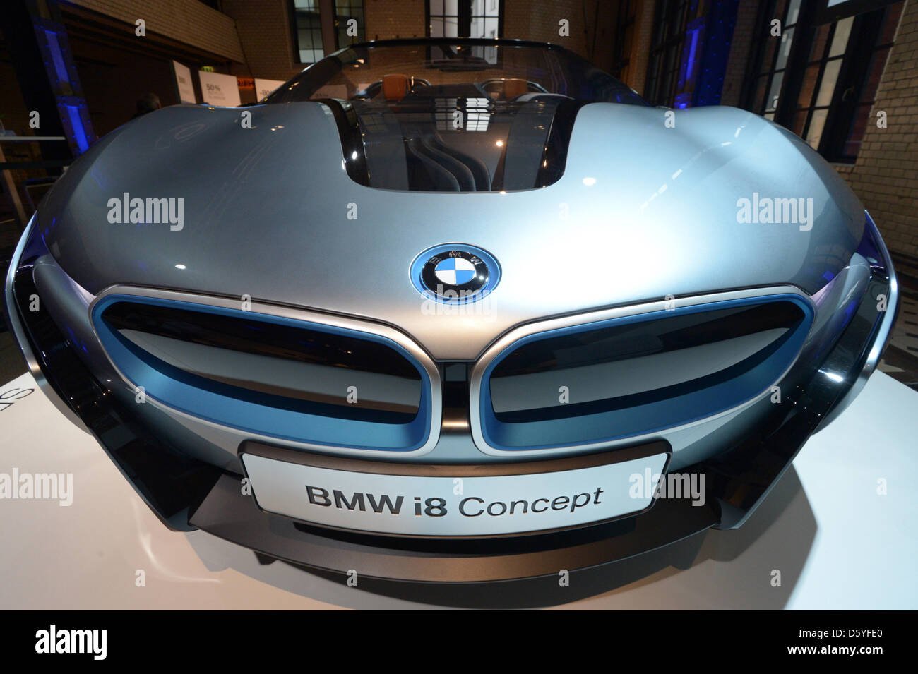 A Bmw I8 Concept Electric Car Is Unveiled At E Werk In Stock Photo