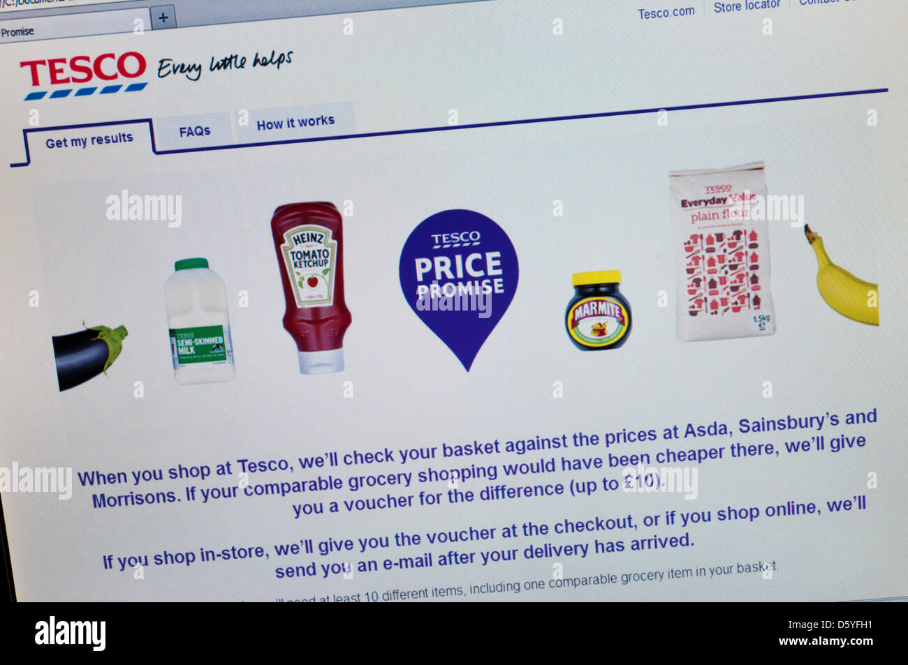 Tesco Price Promise web site allows shoppers to check prices and claim a refund if they could have shopped cheaper - Stock Image