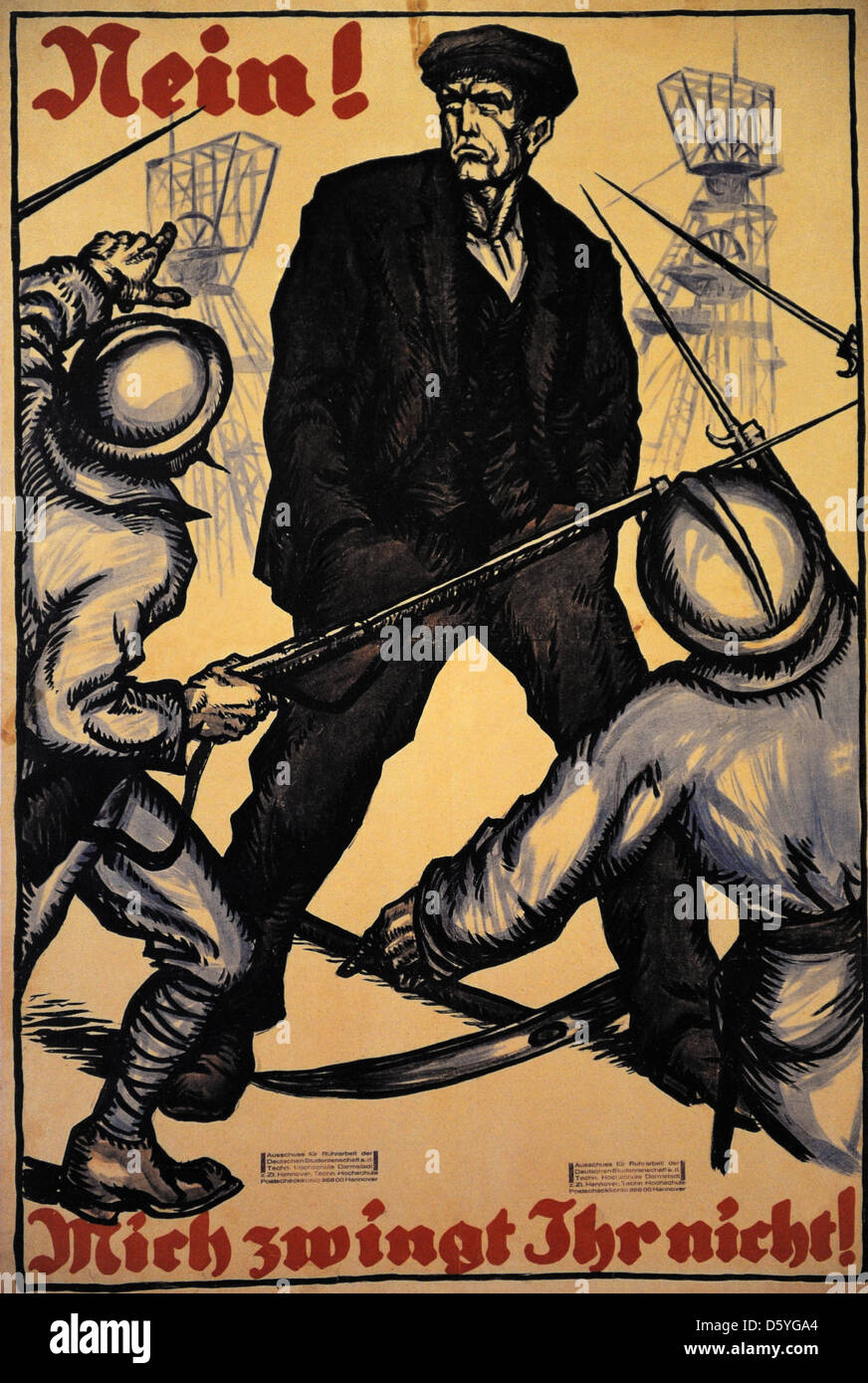 Poster campaign of the Reich headquarters calling for service in the struggle for the Ruhr, 1923. Germany. - Stock Image