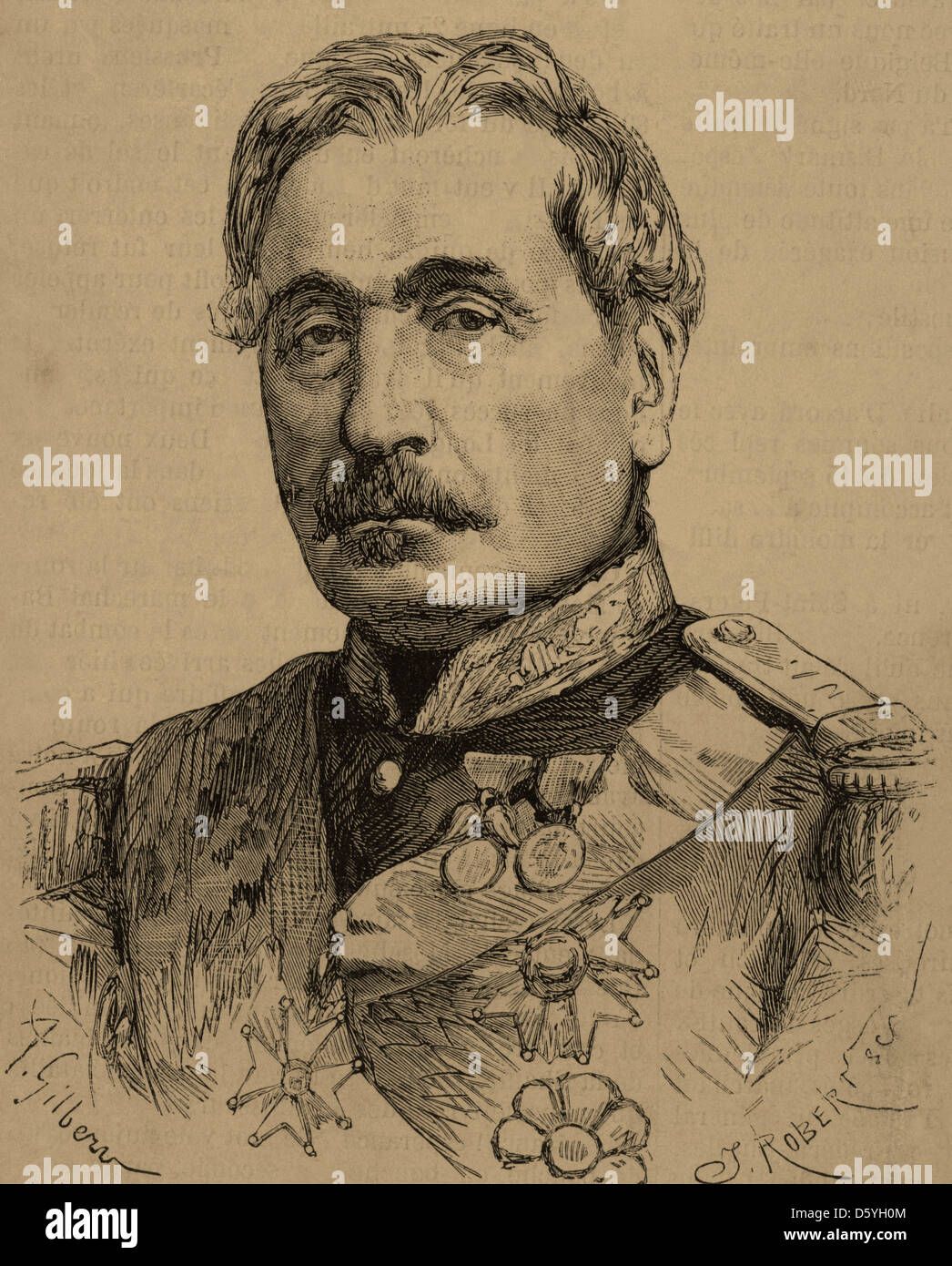 Charles Cousin-Montauban (1796-1878). French general and statesman. Engraving by Robertsen. - Stock Image