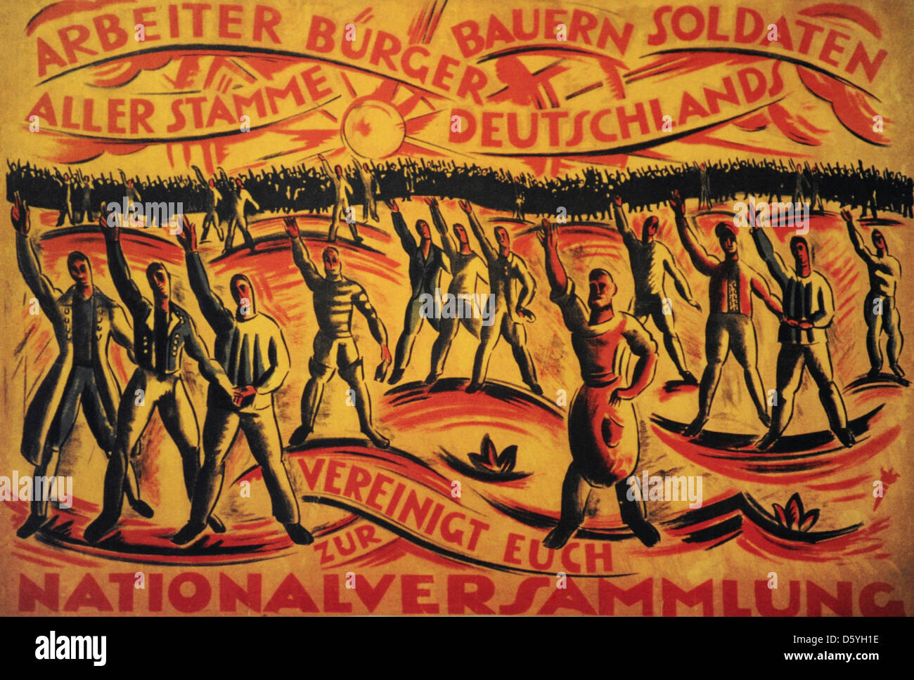 Poster for the National Assembly elections. January 19, 1919. - Stock Image