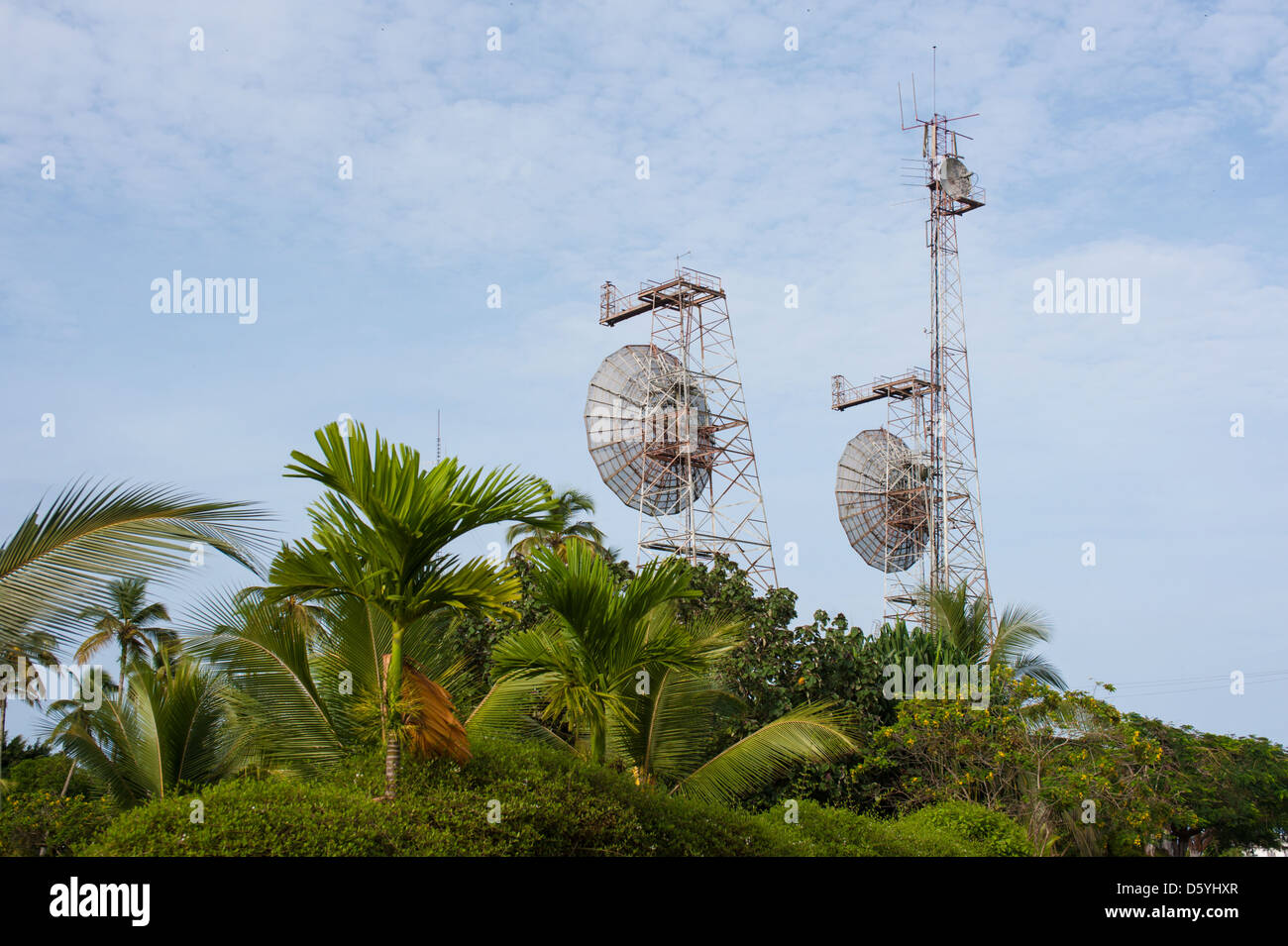 Satellite towers in Kribi Cameroon - Stock Image