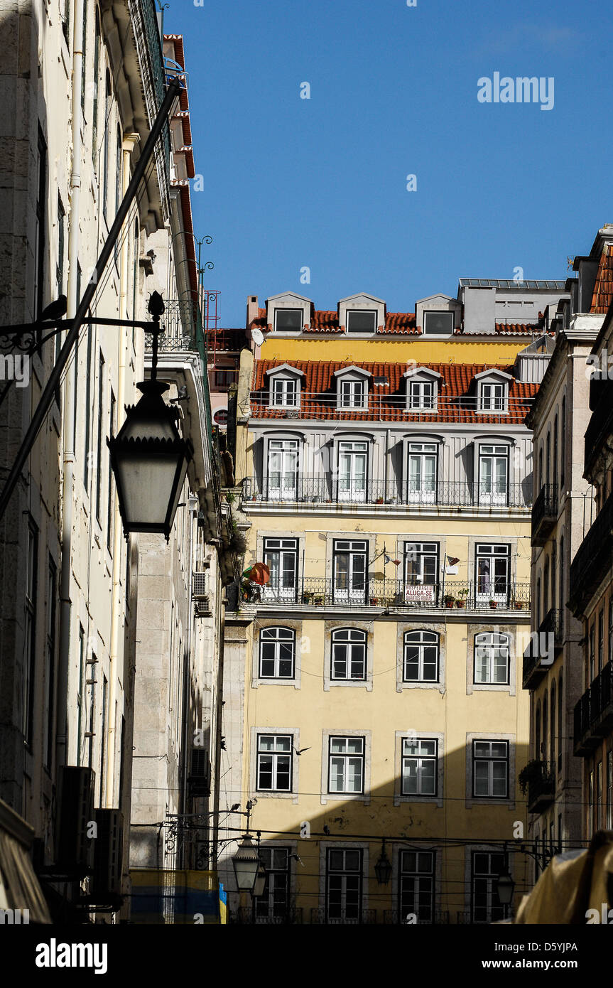 Lisbon city centre buildings in Portugal - Stock Image
