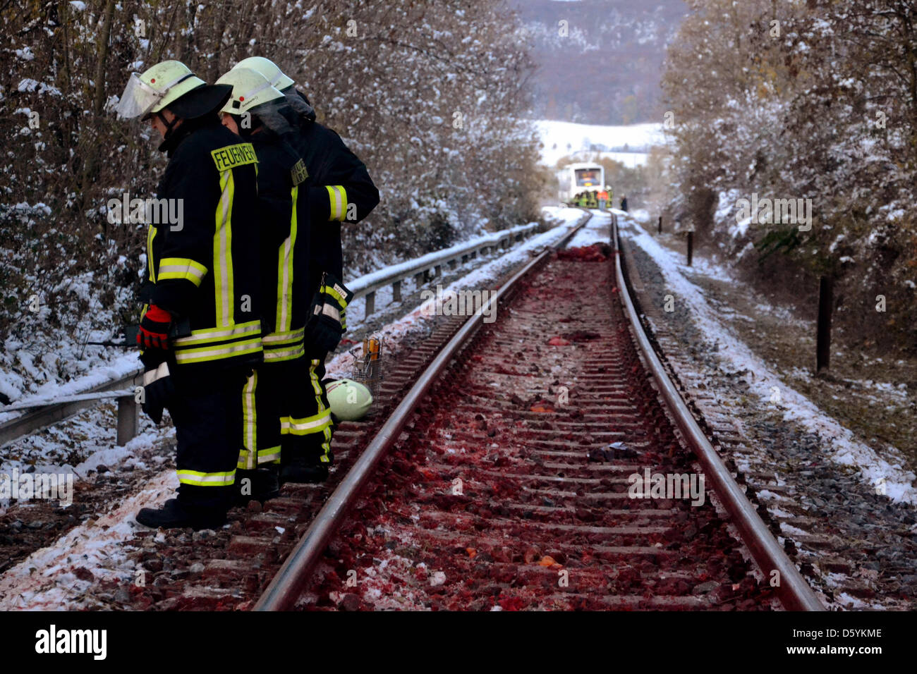 Firefighters stand on the tracks at the site of an accident in Wipfratal, Germany, 29 October 2012. Earlier that Stock Photo