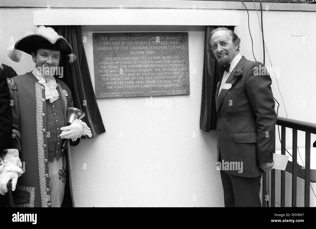 Sir Horace Cutler Opening of the new Covent Garden Piazza London,  1980. HOMER SYKES - Stock Image