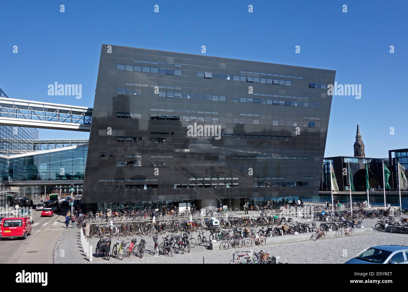 The Royal Danish Library is housed in a building termed The Black Diamond  located on the Copenhagen waterfront - Stock Image