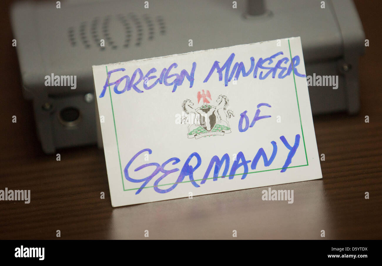 the name tag for german foreign miinster westerwelle fdp stands on