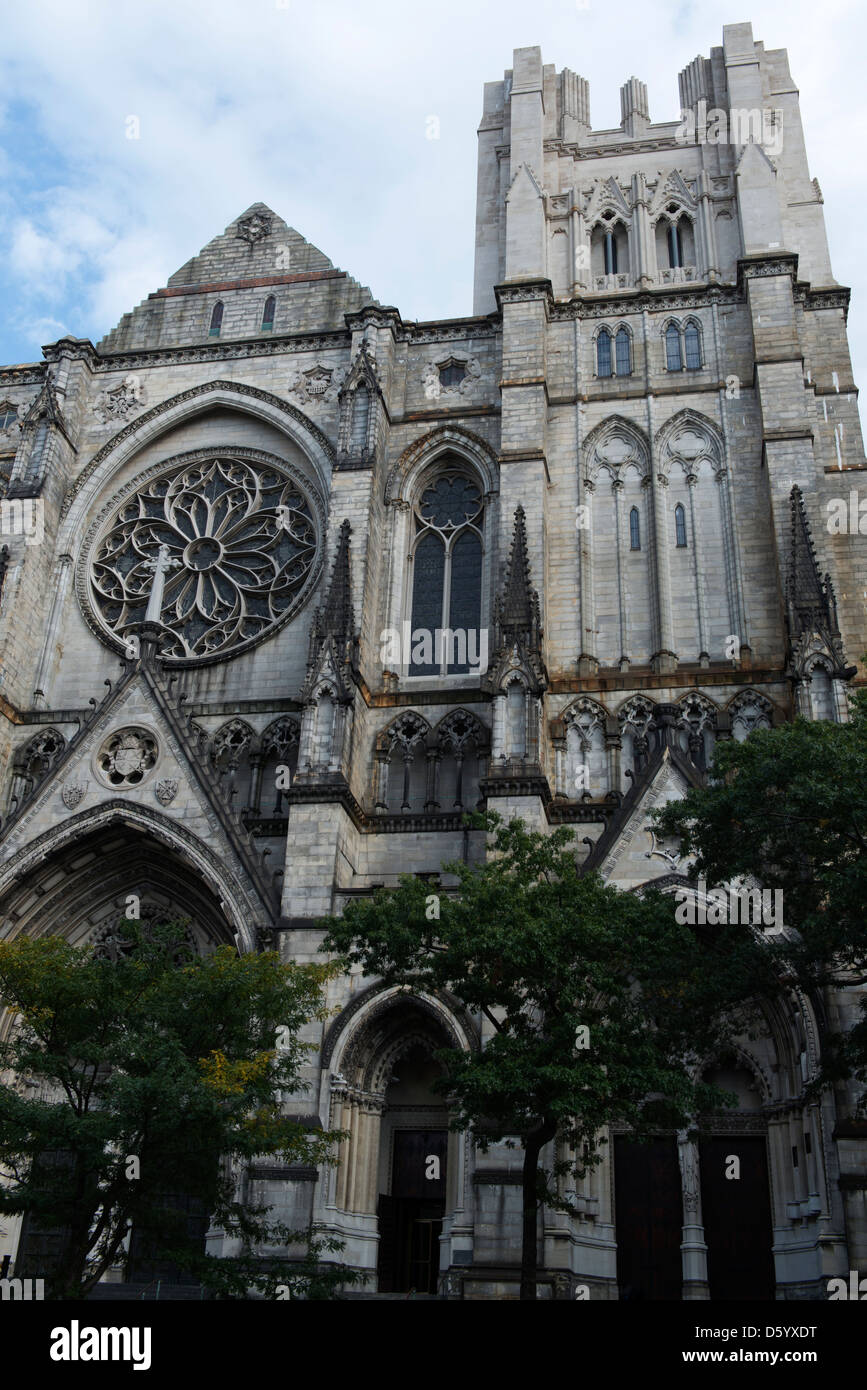 Facade of Cathedral Church of St John the Divine. - Stock Image