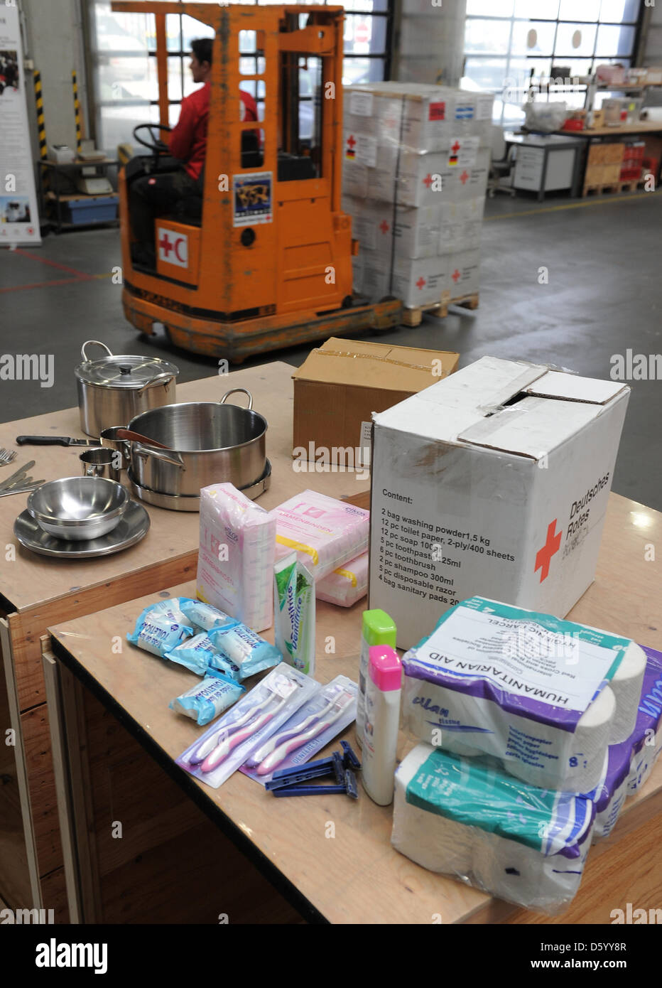 Hygiene articles, which are part of humanitarian aid parcels for Syrian refugees in Turkey, are pictured at the Stock Photo