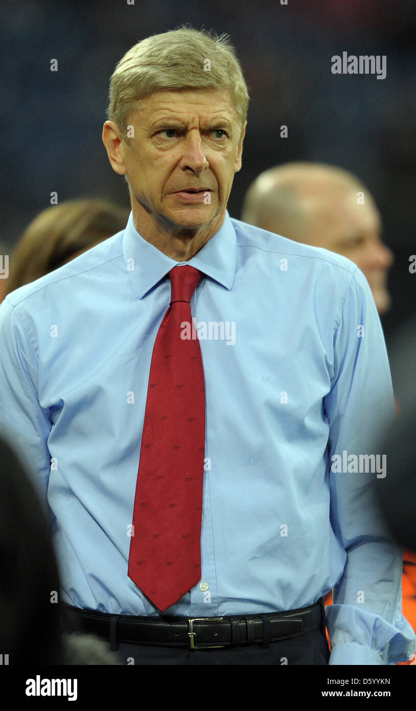 Arsenal's headcoach Arsene Wenger prior the Champions League Group B soccer match between FC Schalke 04 and - Stock Image
