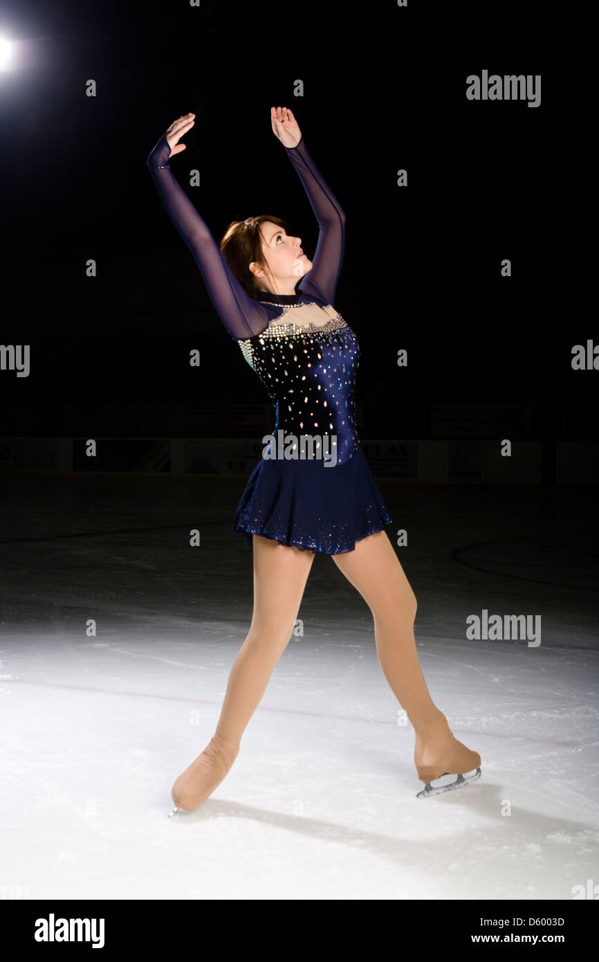Teenage girl ice skater. - Stock Image