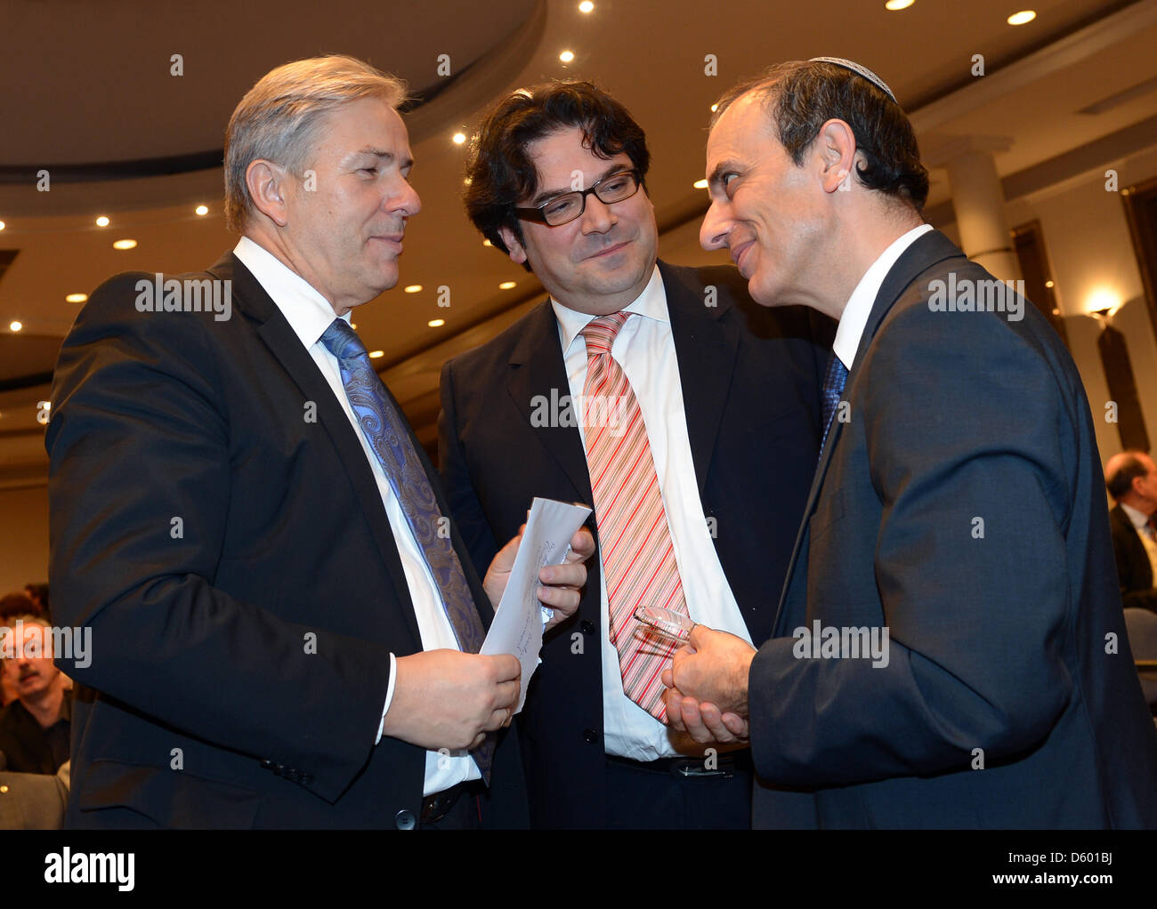 Berlin's governing mayor, Klaus Wowereit (L-R),  Gideon Joffe, chairman of the Jewish community in Berlin and - Stock Image