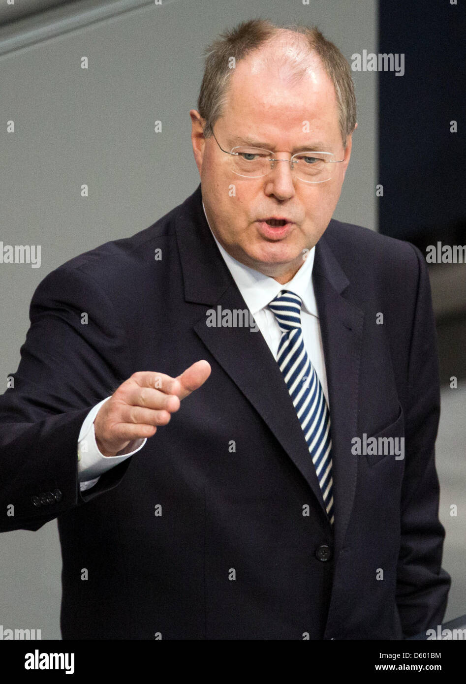 Designated chancellor candidate of the SPD party, Peer Steinbrueck, speaks at the German parliament (Bundestag) - Stock Image