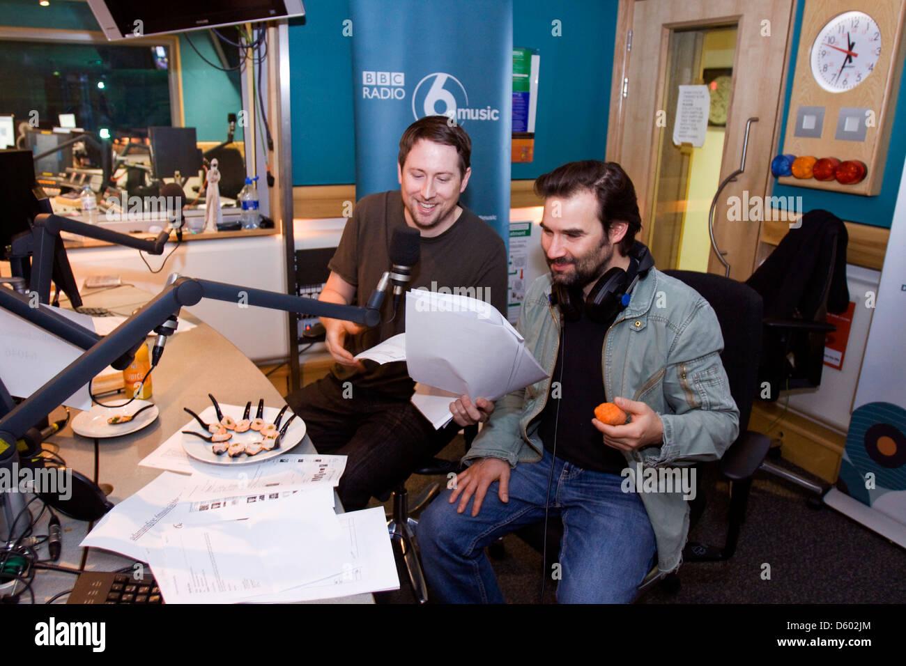Adam Buxton and Joe Cornish, English comedians from the Adam and Joe radio show at BBC 6 Music, London, England. Stock Photo