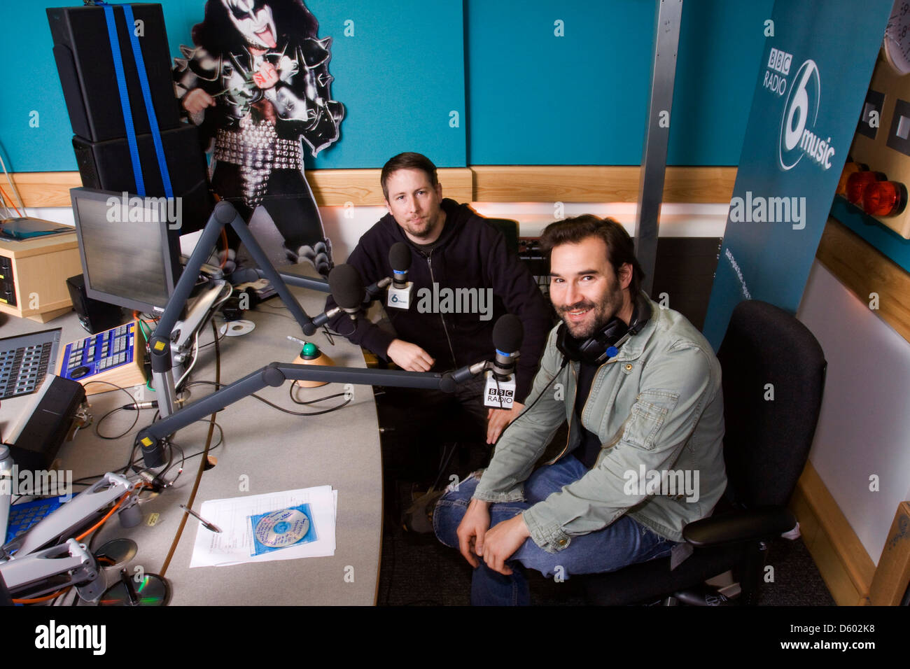 Adam Buxton and Joe Cornish, English comedians from the Adam and Joe radio show at BBC 6 Music, London, England. Stock Photo
