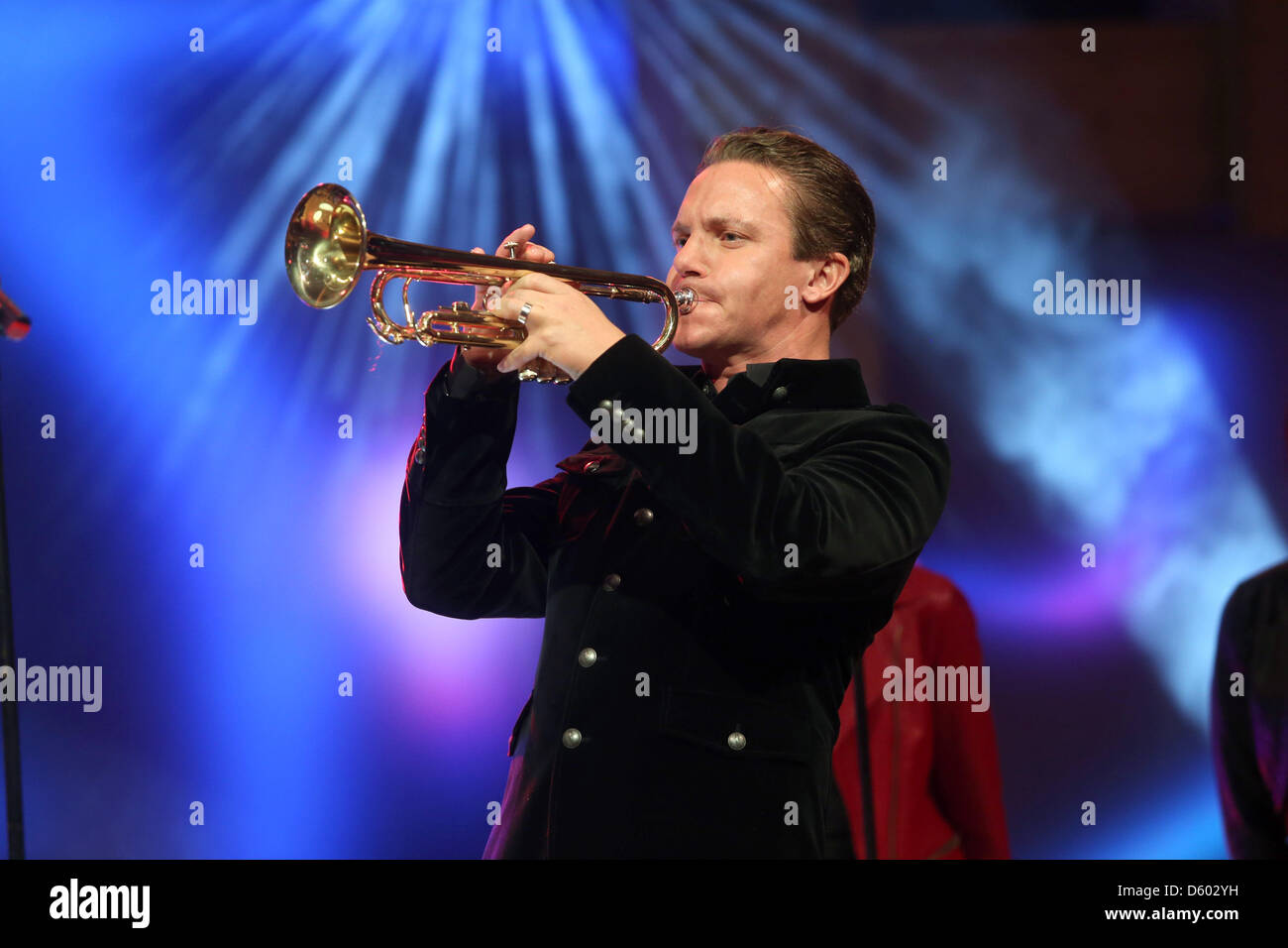 Stefan Mross is  pictured on stage during the dress rehearsal for the traditional folk music show Musikantenstadl - Stock Image