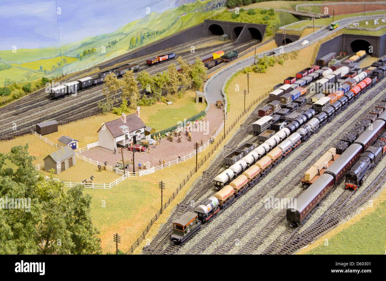 Detail of an 'N' gauge model railway set - Stock Image