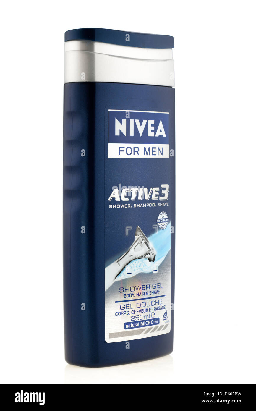 250 ml container of Nivea for men Active 3 combined shower body and hair plus shave gel - Stock Image