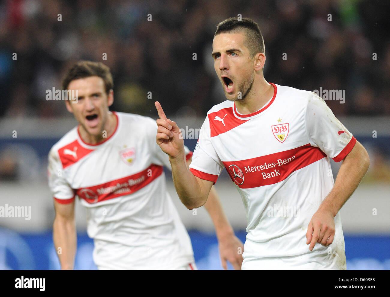 Stuttgart's Vedad Ibisevic (R) celebrates his 2-0 goal with teammate Christian Gentner during the Bundesliga soccer Stock Photo