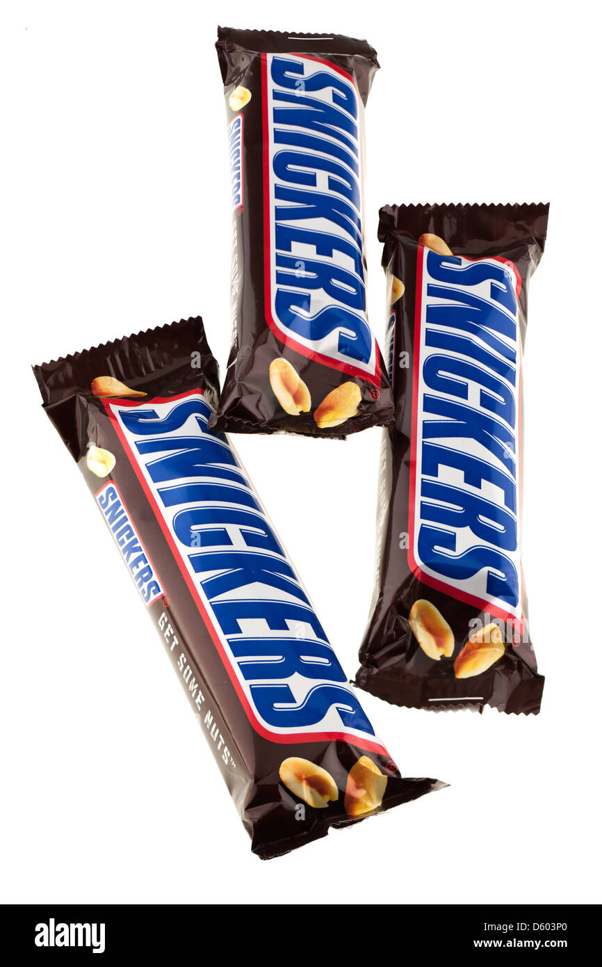 Three snickers bars - Stock Image