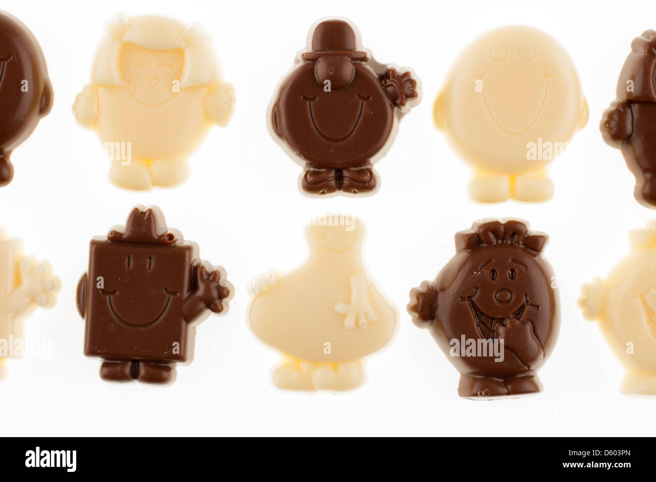 Mr Men white and milk chocolate figures - Stock Image