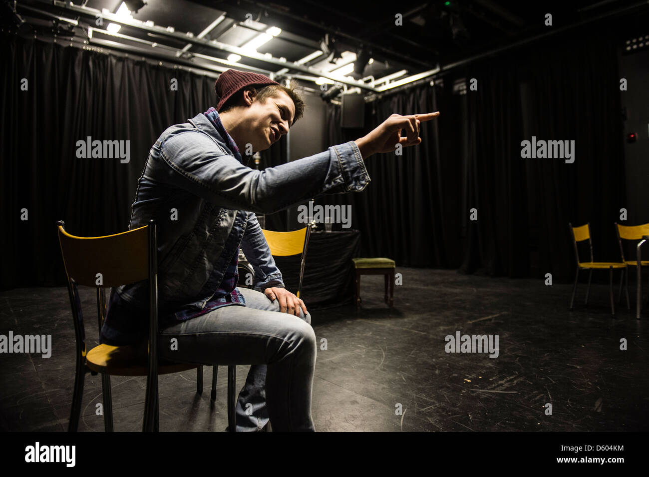 Aberystwyth University student theatre group performing short plays. March 15 2013, UK - Stock Image