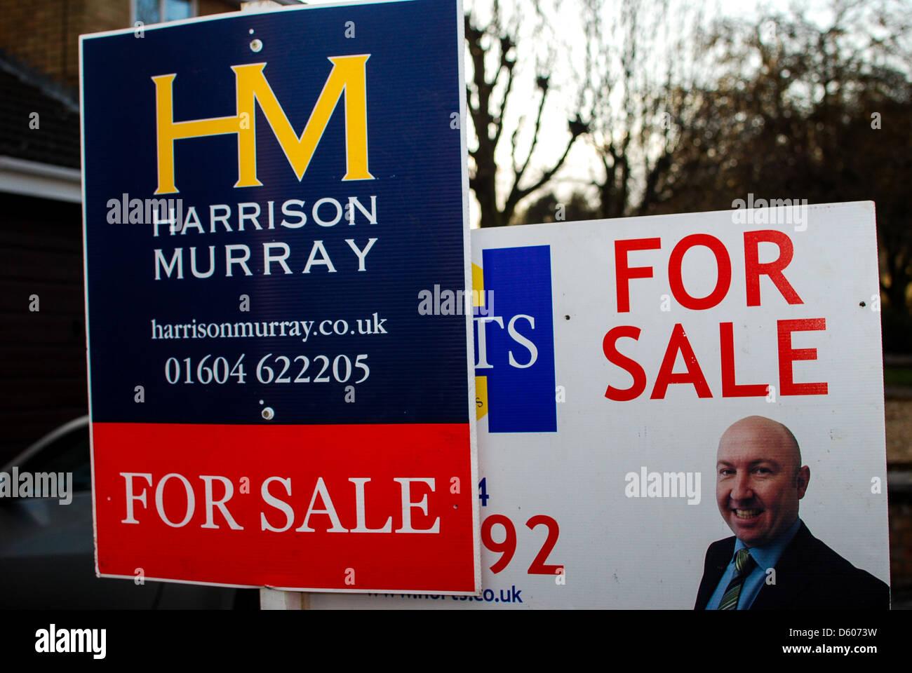House For sale sign Northampton Stock Photo