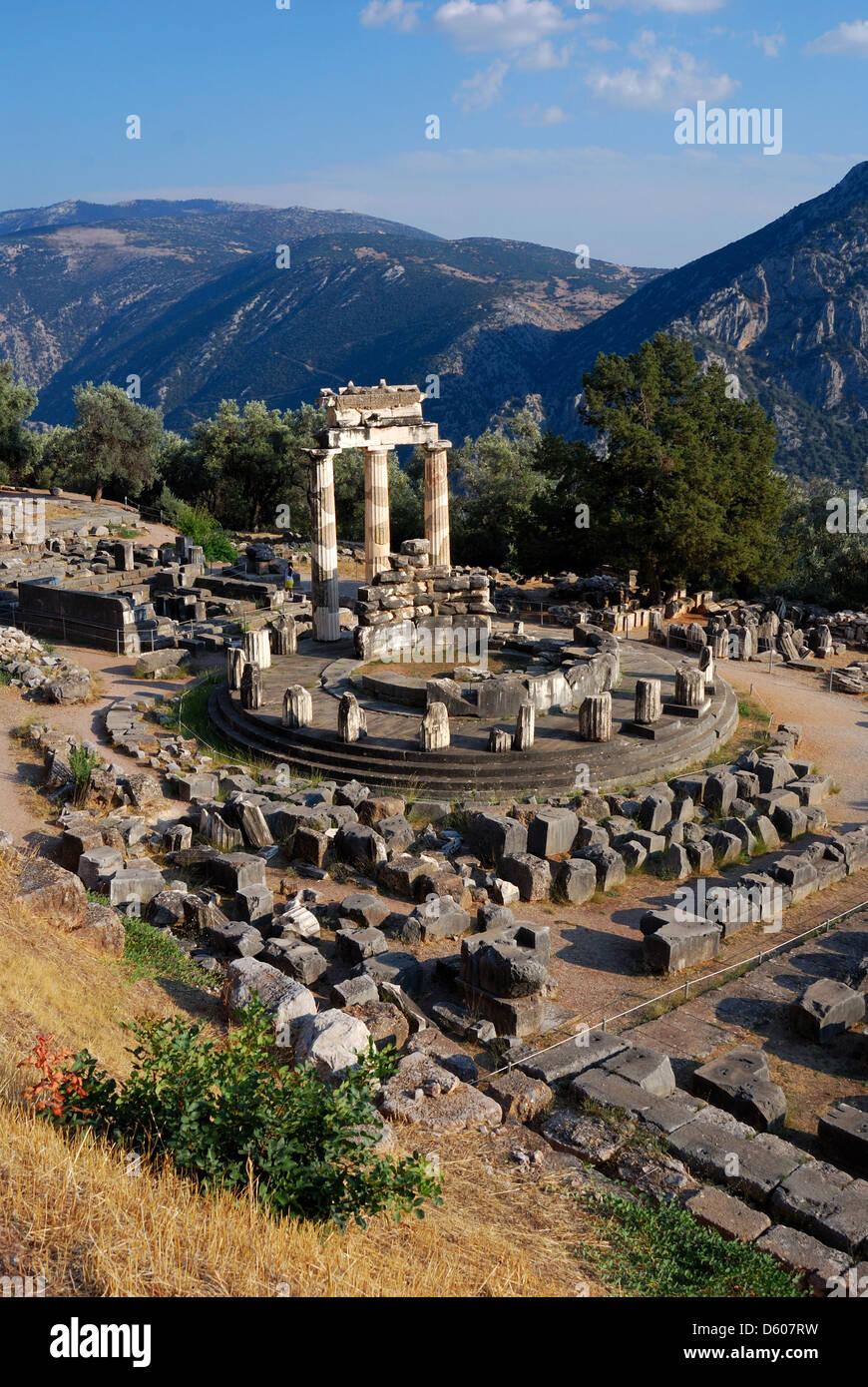 The Tholos at the sanctuary of Athena Pronaia, Delphi, Greece Stock Photo