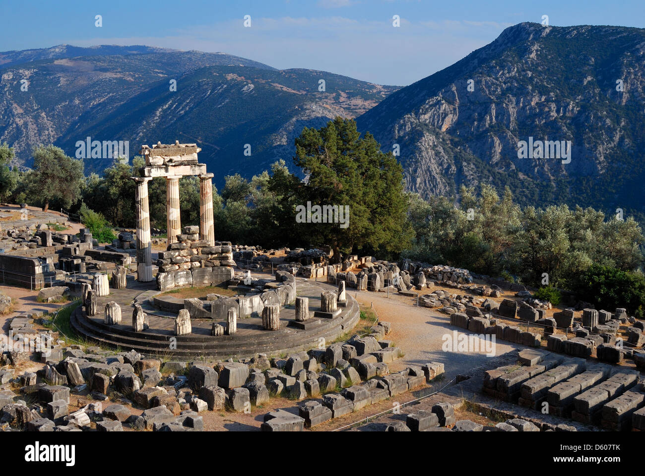 The Tholos at the sanctuary of Athena Pronaia is a circular building that was constructed between 380 and 360 BC. Stock Photo