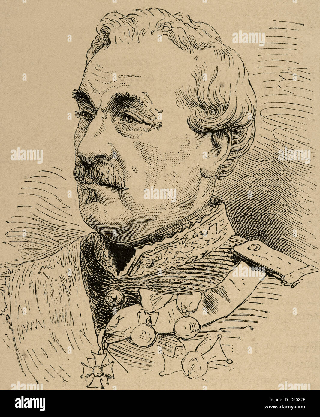 Charles Cousin-Montauban (1796-1878). French general and statesman. Engraving in The Spanish and American Illustration, - Stock Image