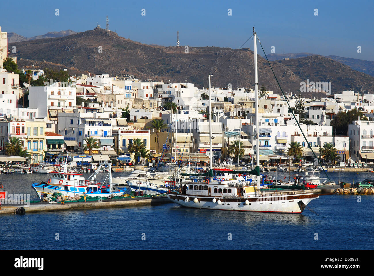 Port on the island of Naxos. Greece - Stock Image