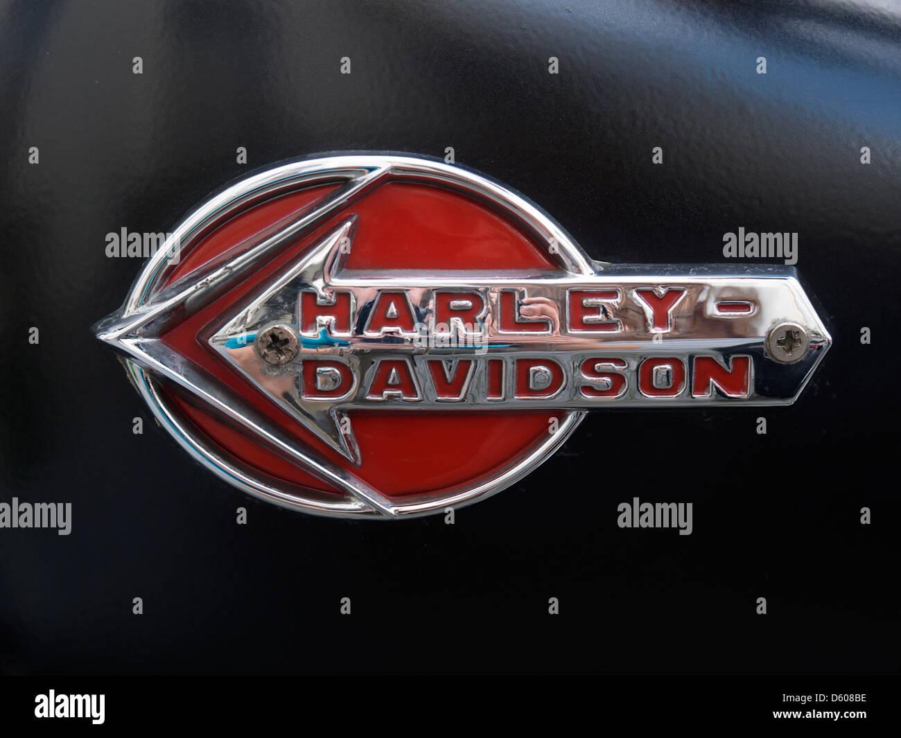 Beautiful old style Harley davidson fuel tank emblem Stock Photo