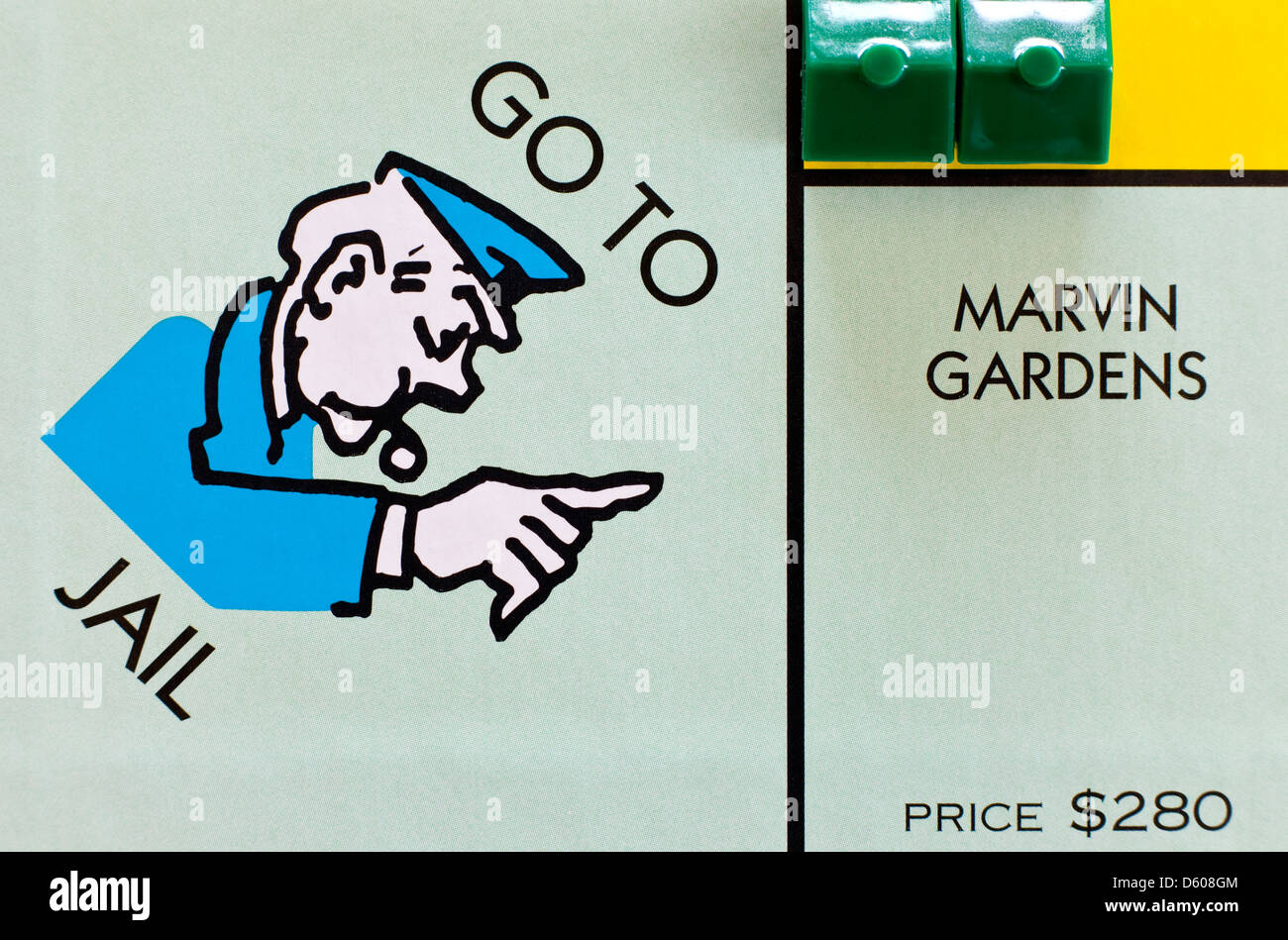 Monopoly board game - Go to Jail and Marvin Gardens spaces - Stock Image