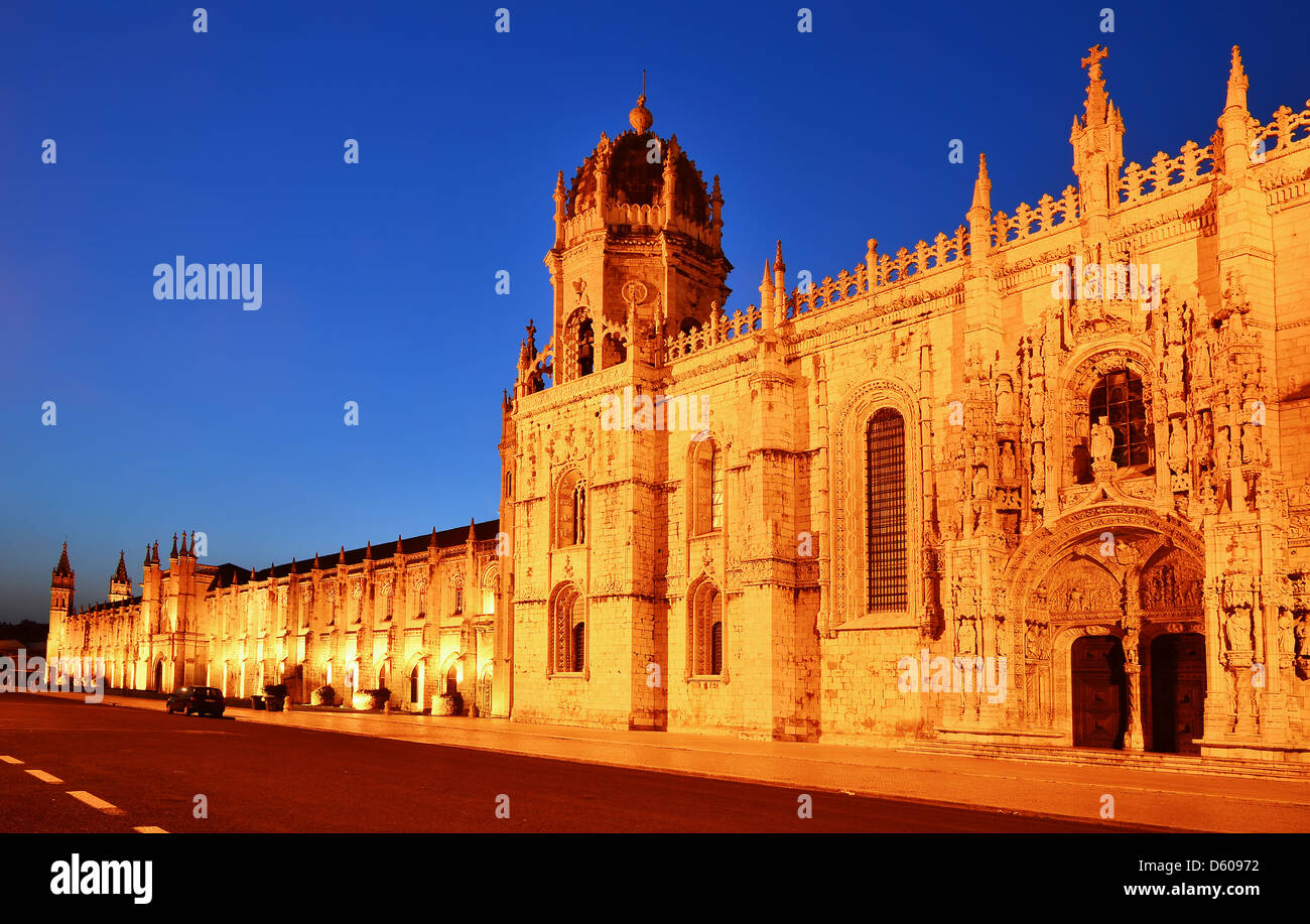 Jeronimos (Hieronymites) Monastery is located in the Belem district of Lisbon, Portugal. - Stock Image