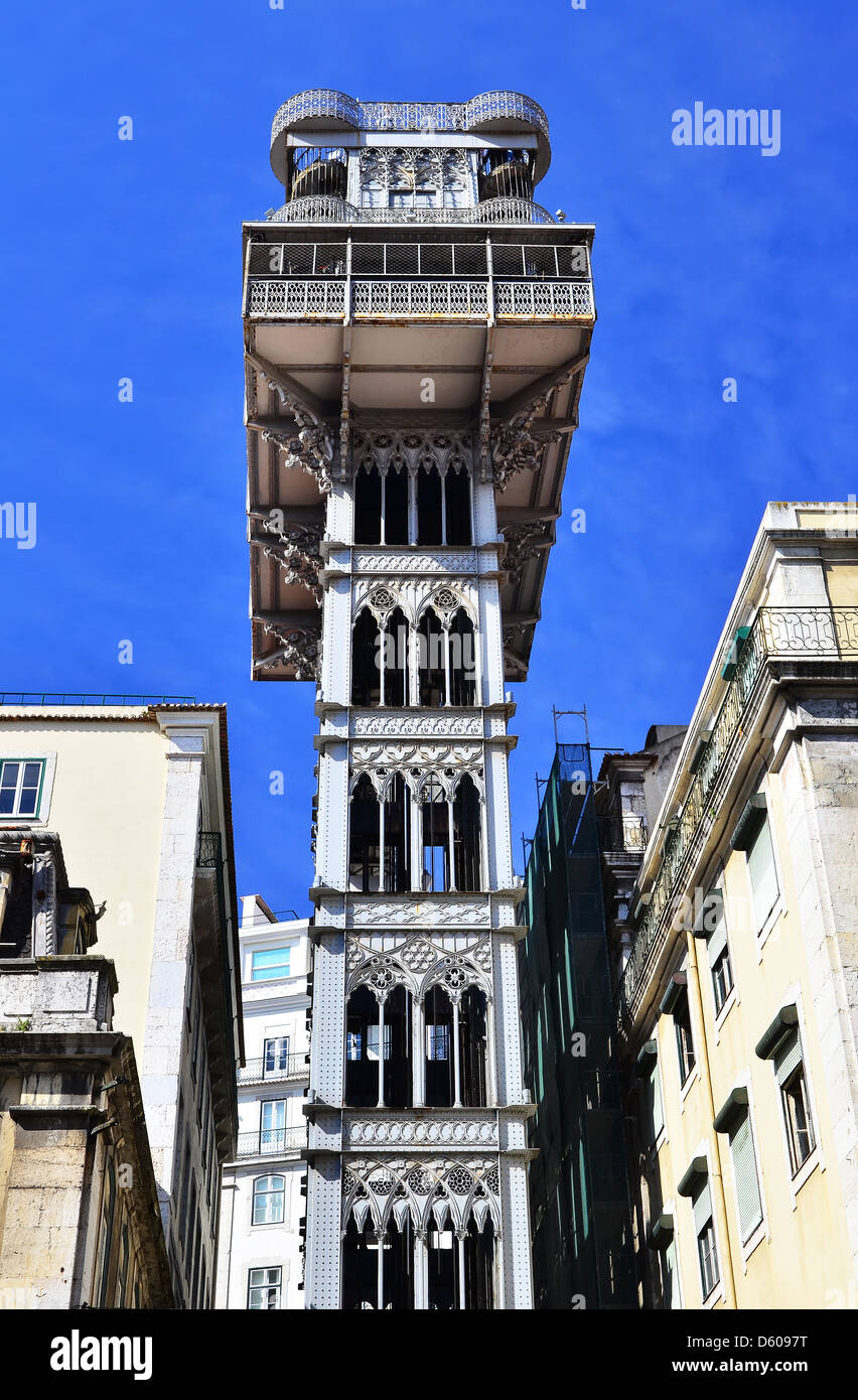The Santa Justa Lift (Elevador de Santa Justa), also called Carmo Lift is a elevator in the historical city of Lisbon, - Stock Image