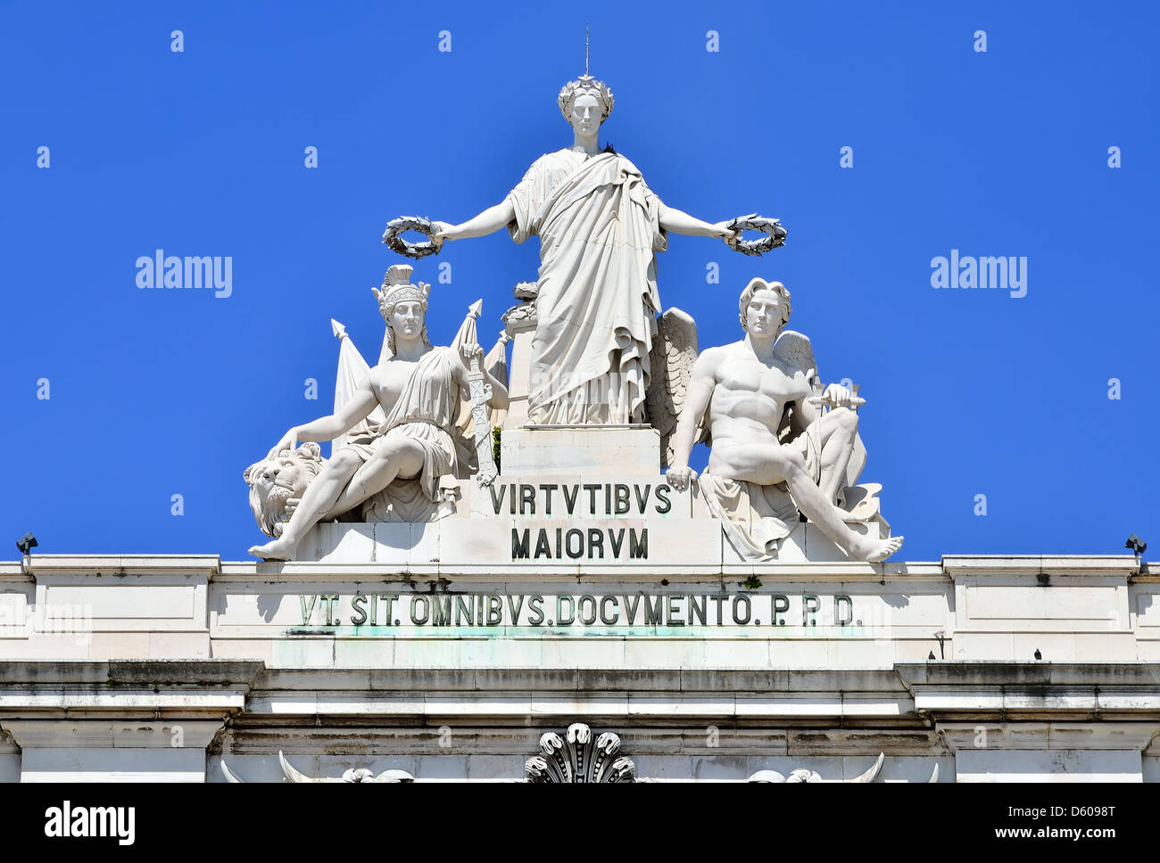 The female allegory of Glory, detail of Rua Augusta Arch. The arch is an historical building in Lisbon, Portugal. - Stock Image